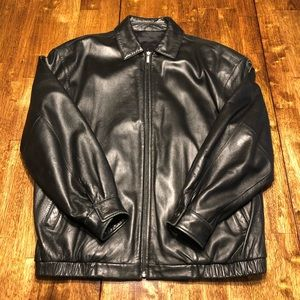 Black Lambskin Leather Men's Zip Up Jacket